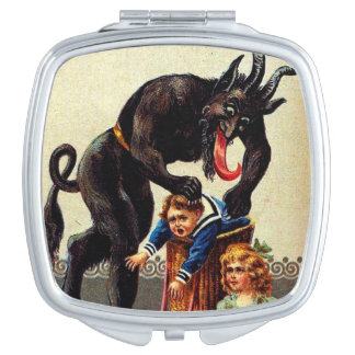 Krampus Kids in Basket Holiday Christmas Compact Mirrors For Makeup