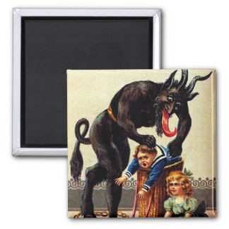Krampus Kids in Basket Holiday Christmas Magnet