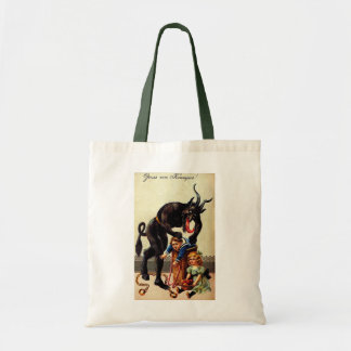 Krampus Kids in Basket Holiday Christmas Tote Bag