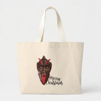 krampus merry christmas large tote bag
