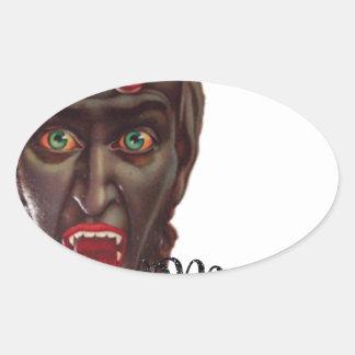 krampus merry christmas oval sticker