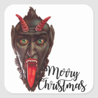 krampus merry christmas square sticker
