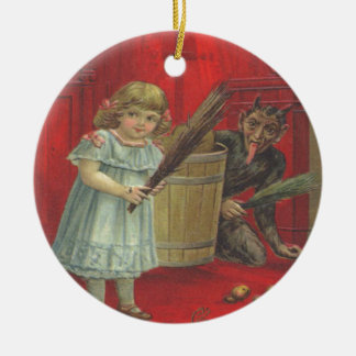 Krampus Playing With Girl Ceramic Ornament