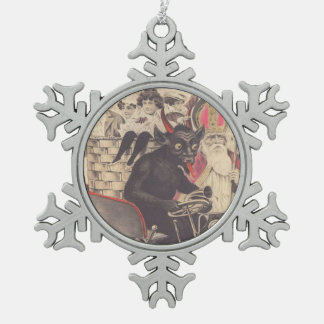 Krampus Priest Santa Kidnapping Children In Car Snowflake Pewter Christmas Ornament