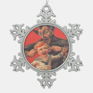 Krampus Punishing Little Boy Pewter Snowflake Ornament