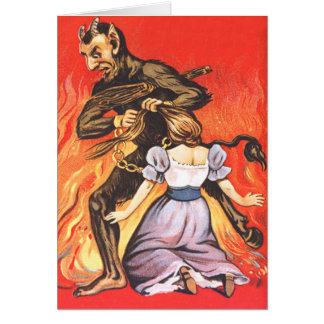 Krampus Punishing Woman Card