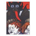 Krampus punissant des enfants carte de vœux