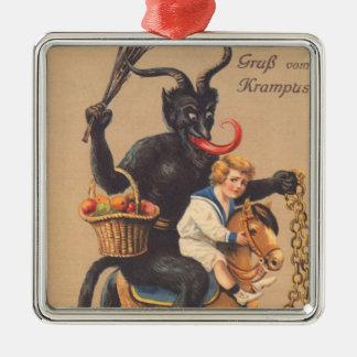 Krampus Riding Hobbyhorse With Boy Metal Ornament