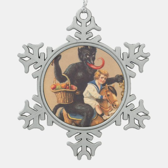 Krampus Riding Hobbyhorse With Boy Pewter Snowflake Ornament