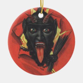 Krampus Round Ceramic Ornament
