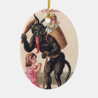Krampus Scaring Girls Vintage Holiday Christmas Ceramic Ornament