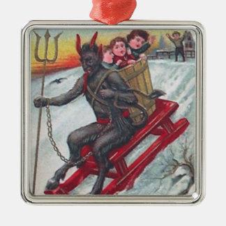 Krampus Sled Metal Ornament