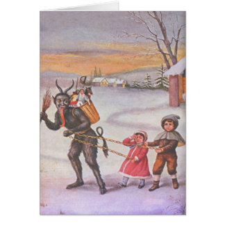 Krampus Stealing Toys & Children Card