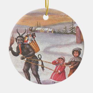 Krampus Stealing Toys & Children Round Ceramic Ornament
