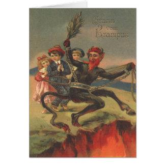 Krampus Taking Bad Children To Hell Card