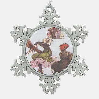 Krampus & Victorian Witch Pewter Snowflake Ornament