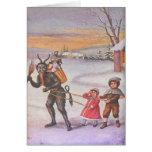 Krampus volant des jouets et des enfants cartes de vœux