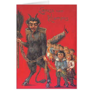 Krampus With Bad Children Card