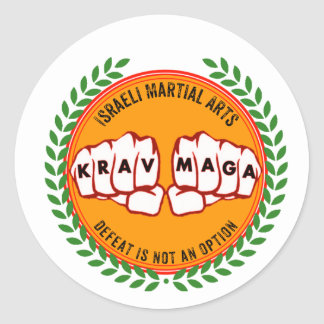 Krav Maga - Defeat is not an option Round Sticker