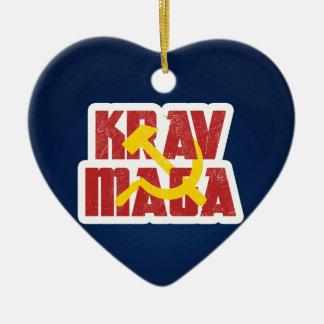 Krav Maga Russia Soviet Union Ceramic Heart Ornament