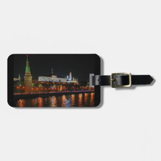 Kremlin Lights Reflecting off Moskva River, Moscow Luggage Tag