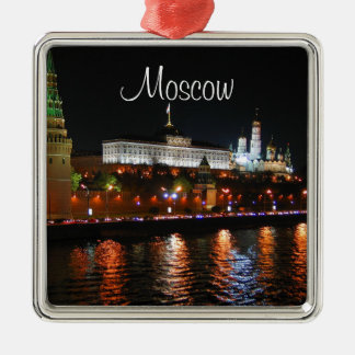 Kremlin Lights Reflecting off Moskva River, Moscow Metal Ornament