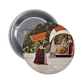 Krishna And Radha In A Pavilion By Nihâl Chand 2 Inch Round Button