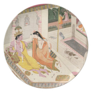 Krishna and Radha on a bed in a Mogul palace, Punj Plates