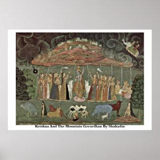 Krishna And The Mountain Govardhan By Shahadin Poster