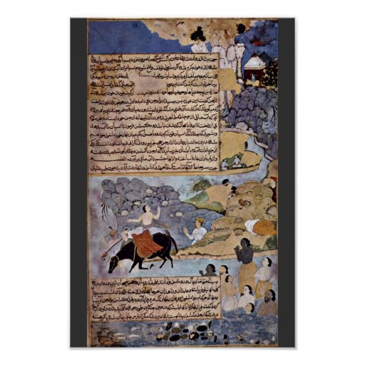 Krishna And The Pandavas Water Their Horses By Mei Poster