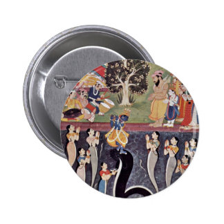 Krishna Dances Over The Subdued Kaliya Naag In Riv 2 Inch Round Button