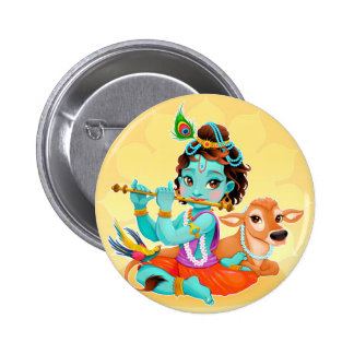 Krishna Indian God playing flute illustration 2 Inch Round Button