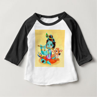 Krishna Indian God playing flute illustration Baby T-Shirt