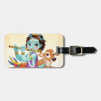 Krishna Indian God playing flute illustration Bag Tag