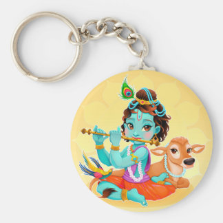 Krishna Indian God playing flute illustration Basic Round Button Keychain