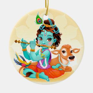 Krishna Indian God playing flute illustration Ceramic Ornament
