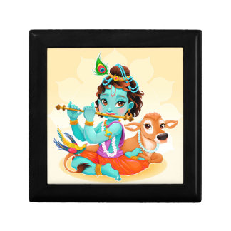 Krishna Indian God playing flute illustration Gift Box