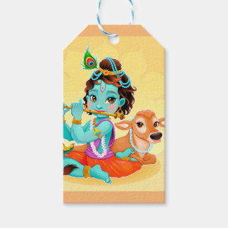 Krishna Indian God playing flute illustration Gift Tags