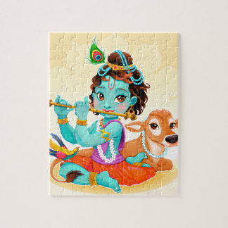 Krishna Indian God playing flute illustration Jigsaw Puzzle