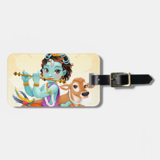 Krishna Indian God playing flute illustration Luggage Tag
