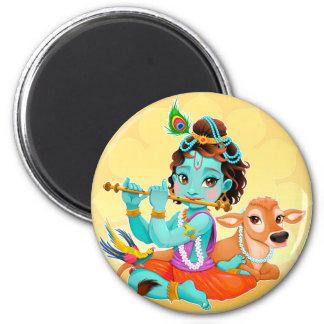 Krishna Indian God playing flute illustration Magnet