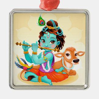 Krishna Indian God playing flute illustration Metal Ornament
