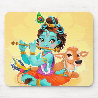 Krishna Indian God playing flute illustration Mouse Pad