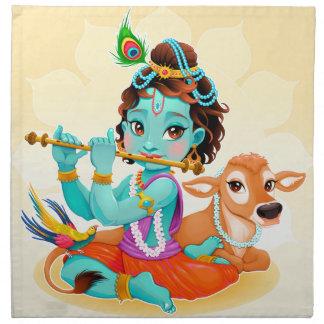 Krishna Indian God playing flute illustration Napkin