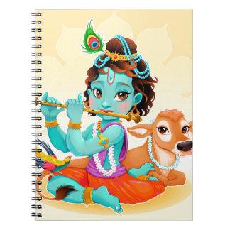 Krishna Indian God playing flute illustration Notebook