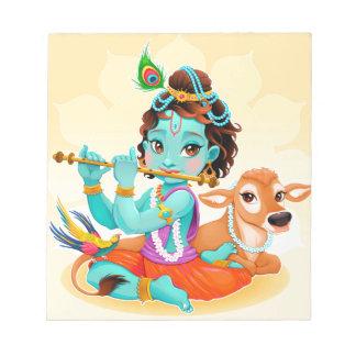 Krishna Indian God playing flute illustration Notepad