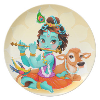 Krishna Indian God playing flute illustration Party Plates