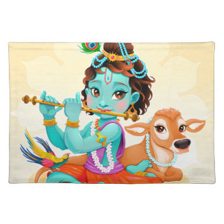 Krishna Indian God playing flute illustration Placemat
