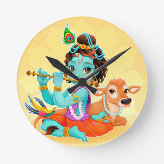 Krishna Indian God playing flute illustration Round Clock