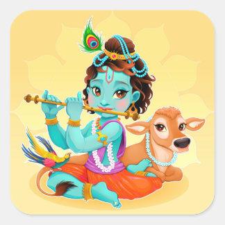 Krishna Indian God playing flute illustration Square Sticker
